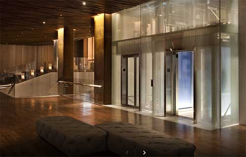 NYC the Row Hotel Lobby and lifts