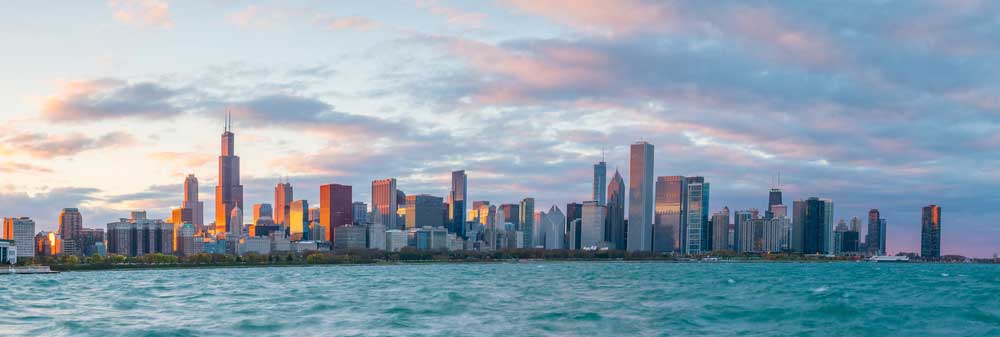 View from Lake onto Chicago