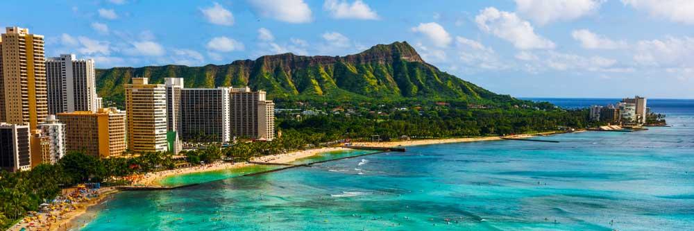 Honolulu panoramic view of city and waikiki beach