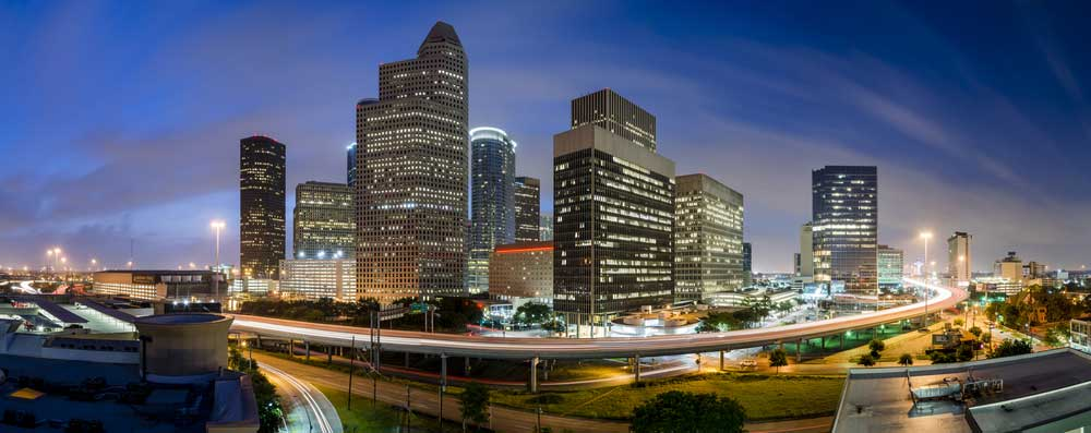 panorama view of Houston by night